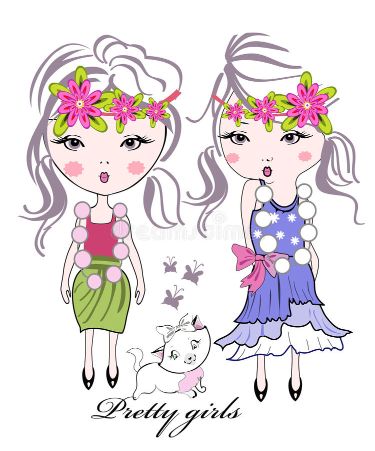 Download Fashion Kid Girls With Flowers Stock Vector - Image: 22466411
