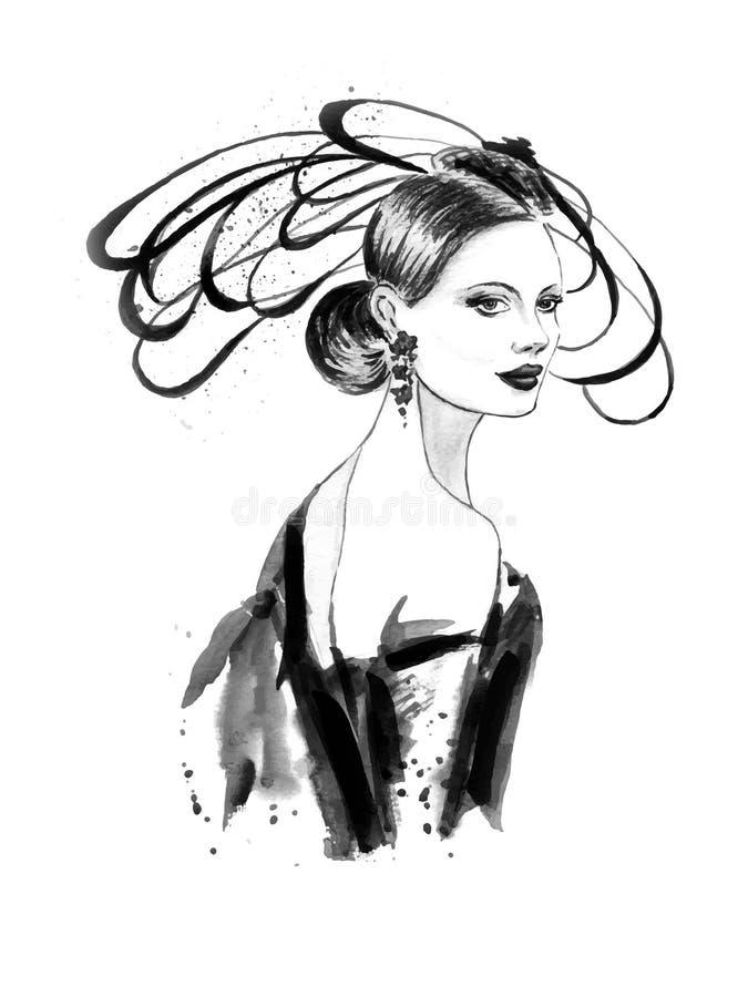 fashion kvinnan stock illustrationer