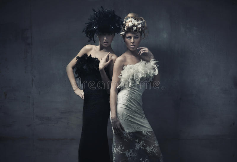Fashion ladies. Fine art photo of a two fashion ladies stock photos
