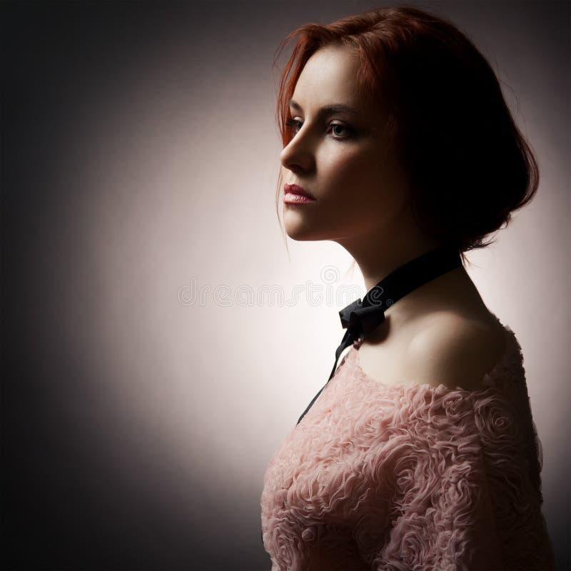 Fashion Lady On Dark Background stock images