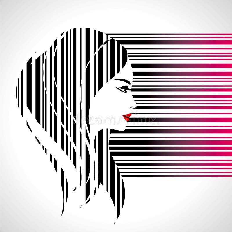 Fashion lady make on bar-code. Illustration vector illustration