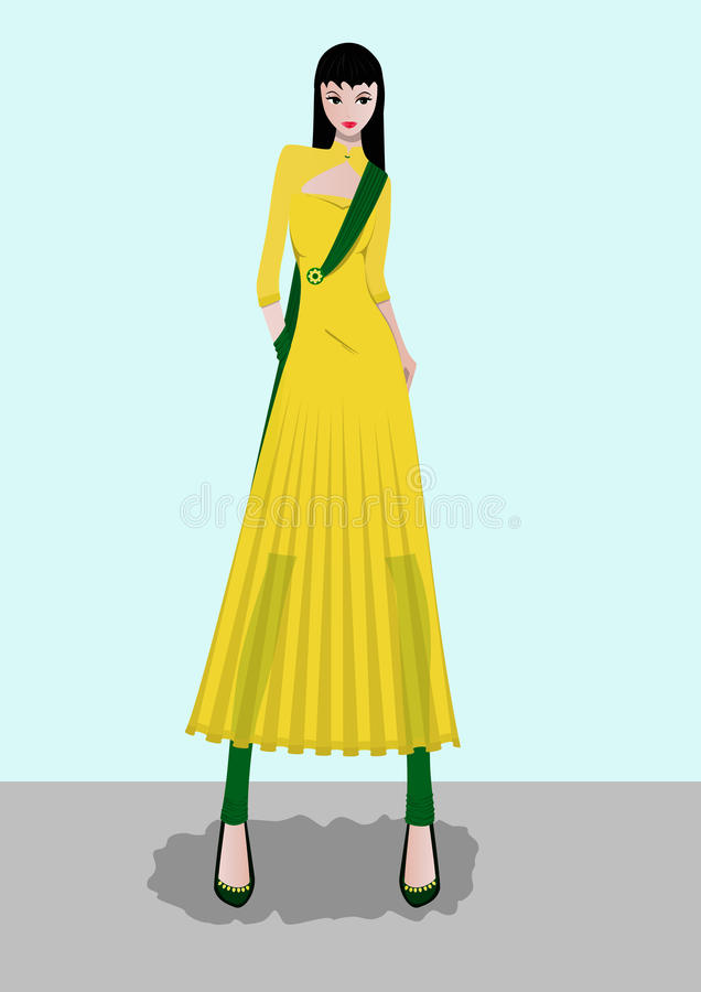 Fashion Lady. Posing wearing yellow and Green Gown stock illustration