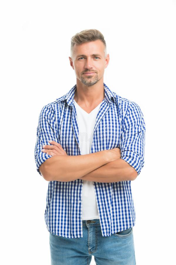 Fashion for daily life. Handsome fashion model. Feeling casual and comfortable. Menswear and fashionable clothing. Man. Looks handsome in casual style. Guy wear stock photo