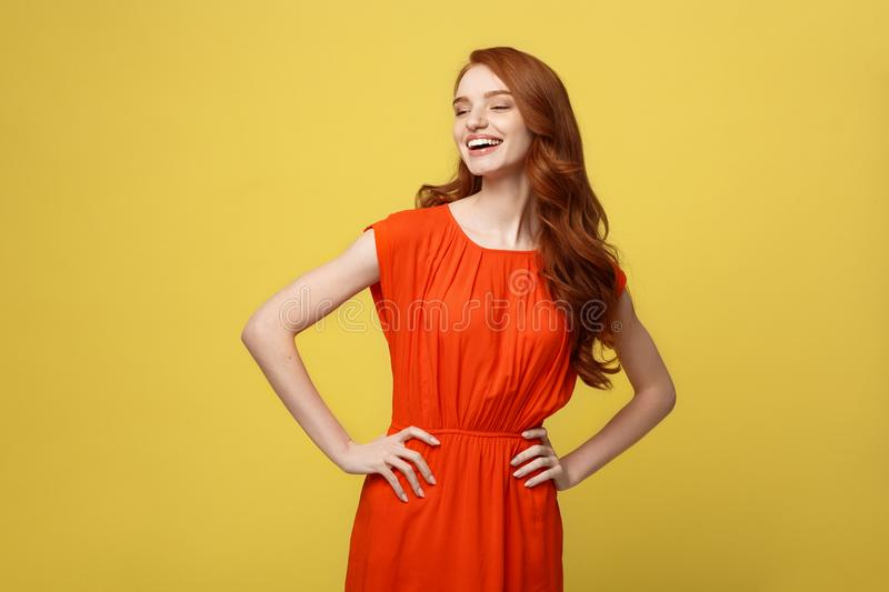 Fashion and Lifestyle Concept: Studio shot of attractive self confident young female in great mood feeling happy stock photos