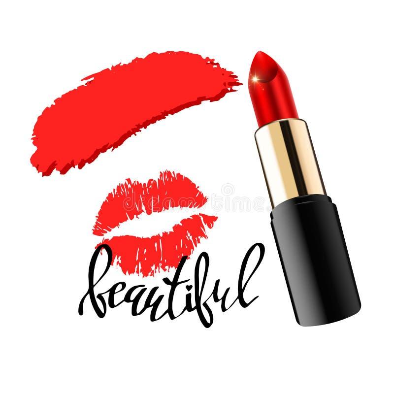 Fashion lipstick ads, trendy cosmetic design for advertisement vector illustration