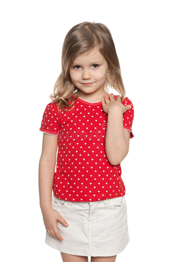 Fashion little girl against the white royalty free stock photos