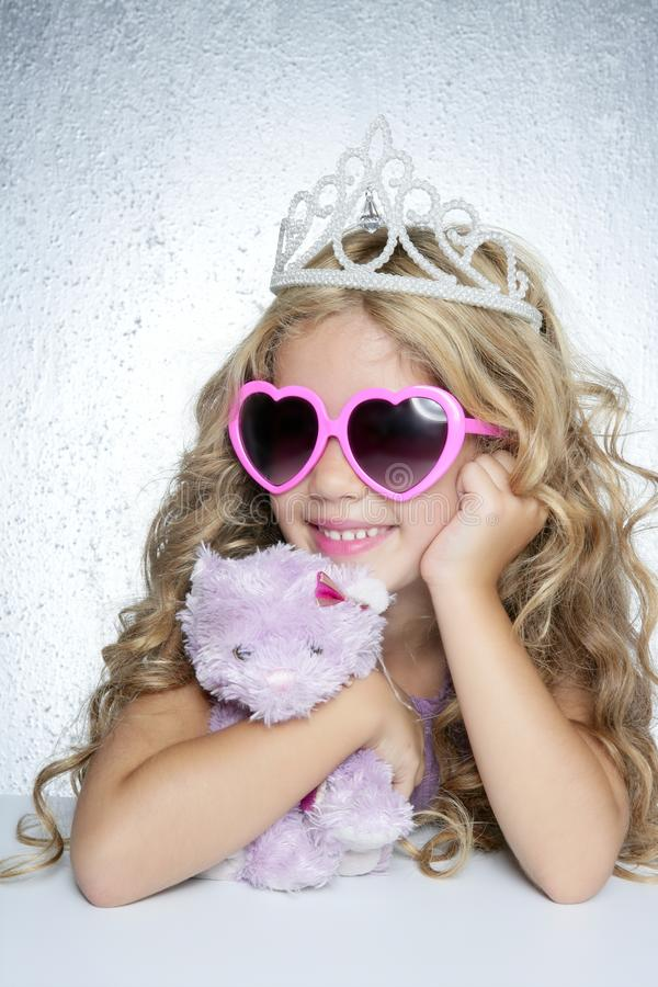Fashion little princess girl pink teddy bear royalty free stock photos