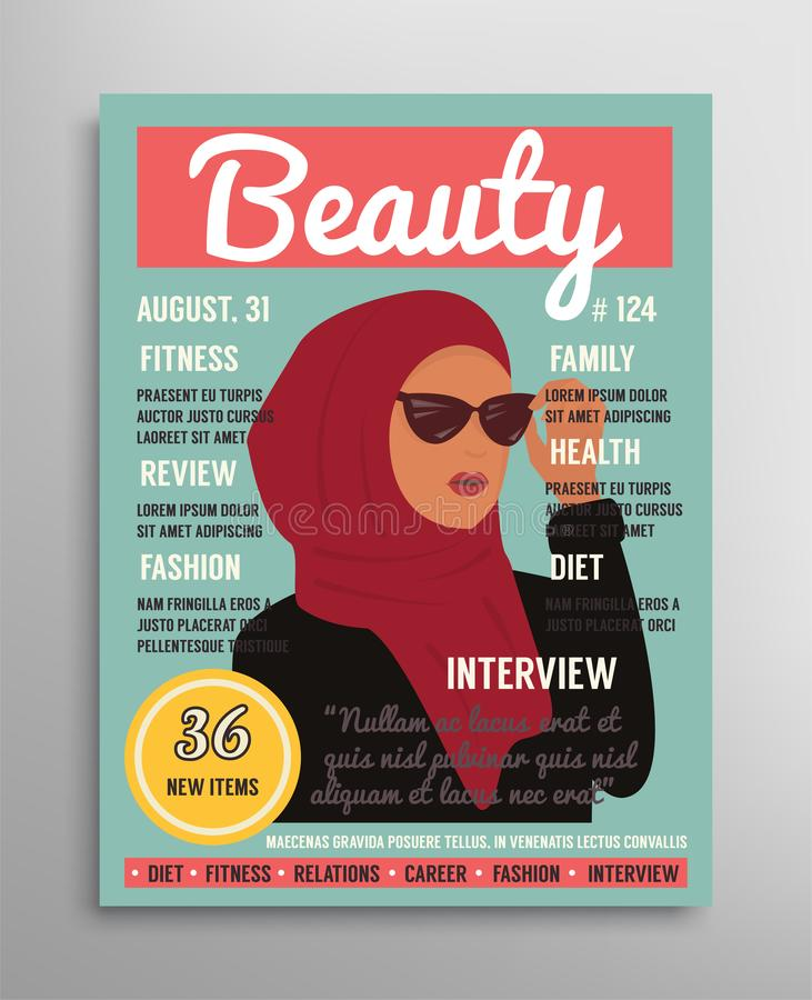 Magazine cover template about beauty, fashion and health for arab muslim women. Vector illustration. Fashion Magazine cover template about beauty, style and royalty free illustration