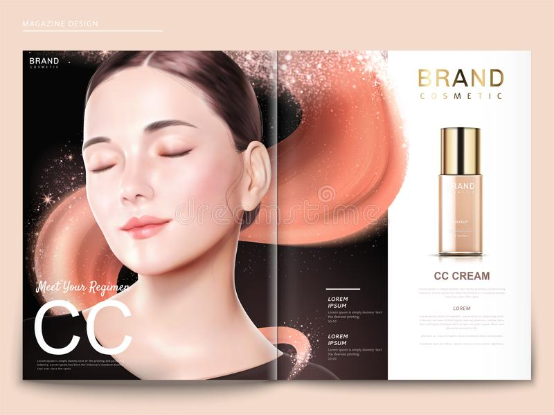 Fashion magazine template. Elegant model with foundation product and glitter texture in 3d illustration, black background stock illustration