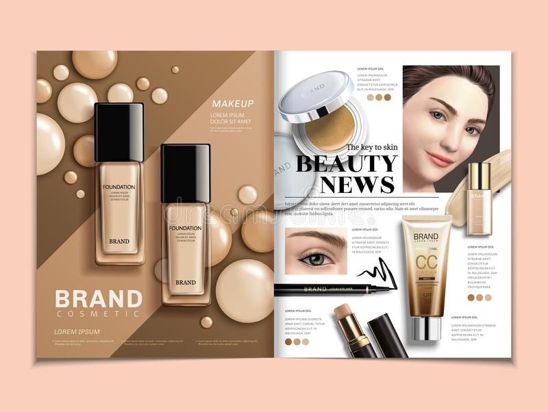 Fashion magazine template. Foundation and concealer ads with elegant model in 3d illustration royalty free illustration