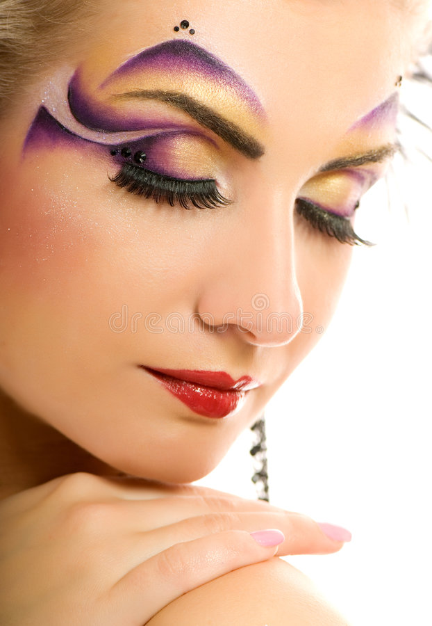 Fashion make-up. Picture of a Creative fashion make-up stock photography