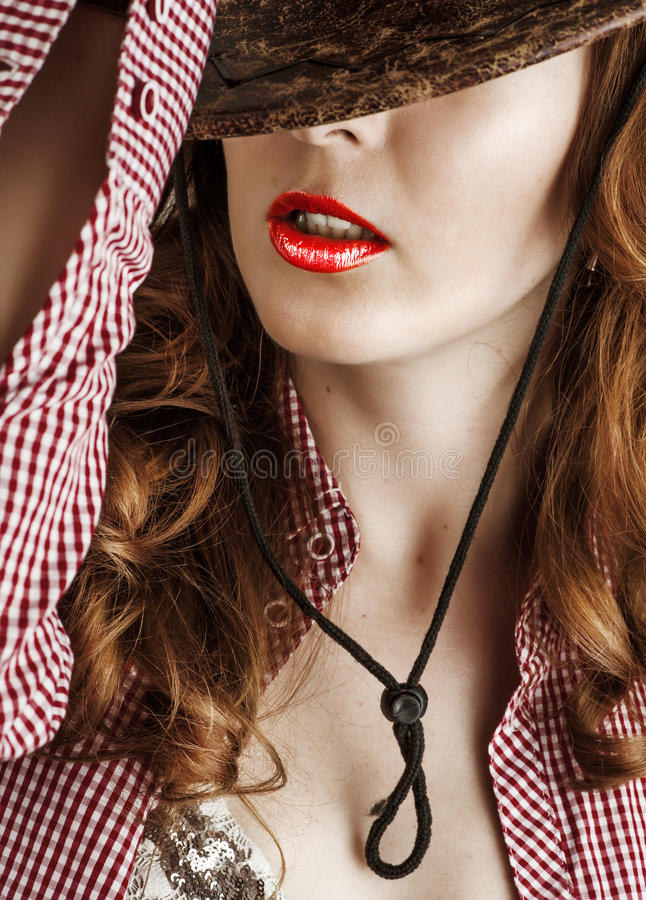 Fashion make up - red lips stock images