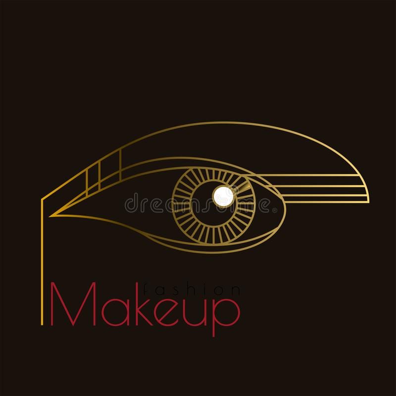 Fashion makeup. Art Deco eye. Golden Line art royalty free illustration