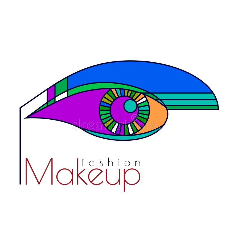 Fashion  makeup. Art Deco Illustration. Line art. Fashion makeup. Art Deco Illustration. Line art. Vector illustration stock illustration