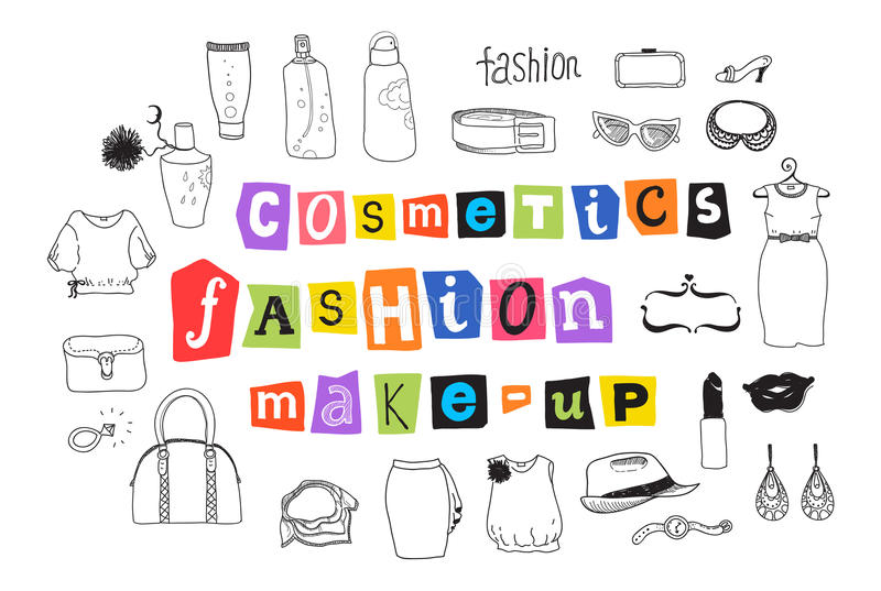 Fashion And Makeup Doodles Royalty Free Stock Photography
