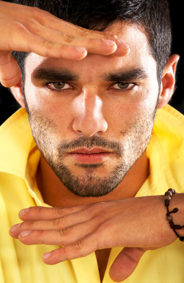Download Fashion male face stock image. Image of down, dark, intense - 4101585