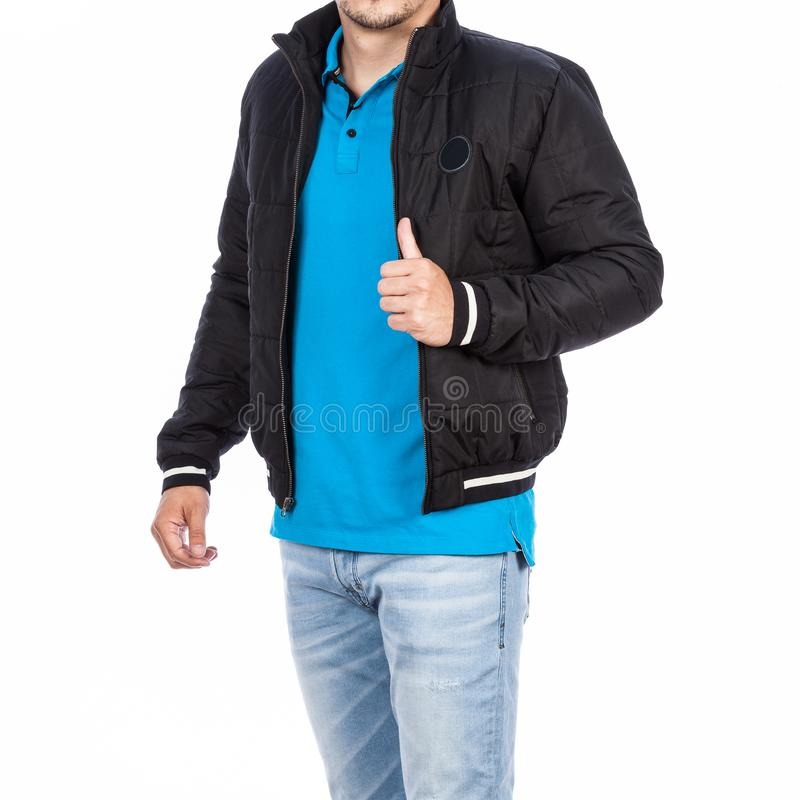 Fashion male man wearing t-shirt, jacket and jean. Photo on white background royalty free stock photography