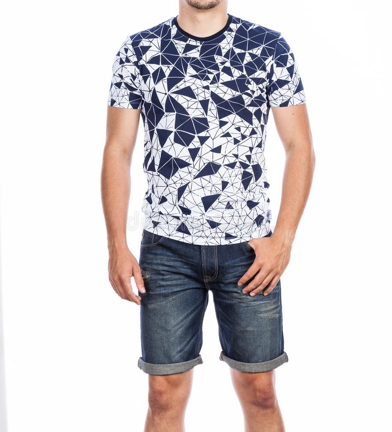 Fashion male man wearing t-shirt and jeans shorts stock photos