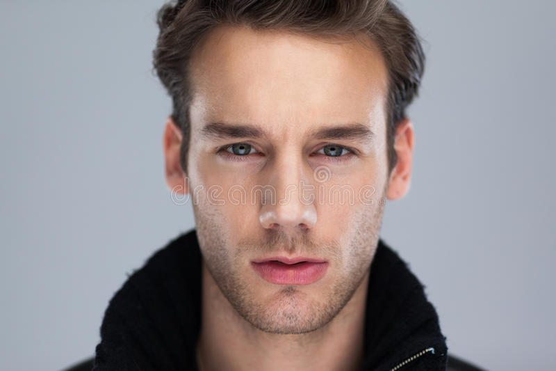Download Fashion Man Face Close Up Over Gray Background Stock Photo - Image: 41172946
