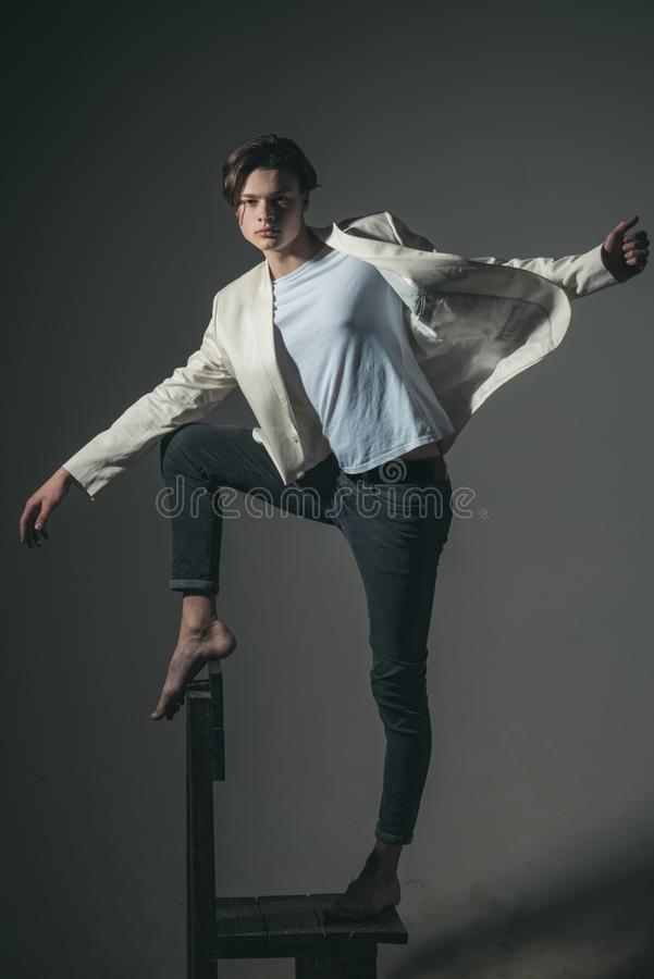 Fashion man with mystery look. Beauty and fashion. Man with trendy look. Hair style and skincare. Modern male. Perfect. Guy. sence of freedom. youth is my royalty free stock photography