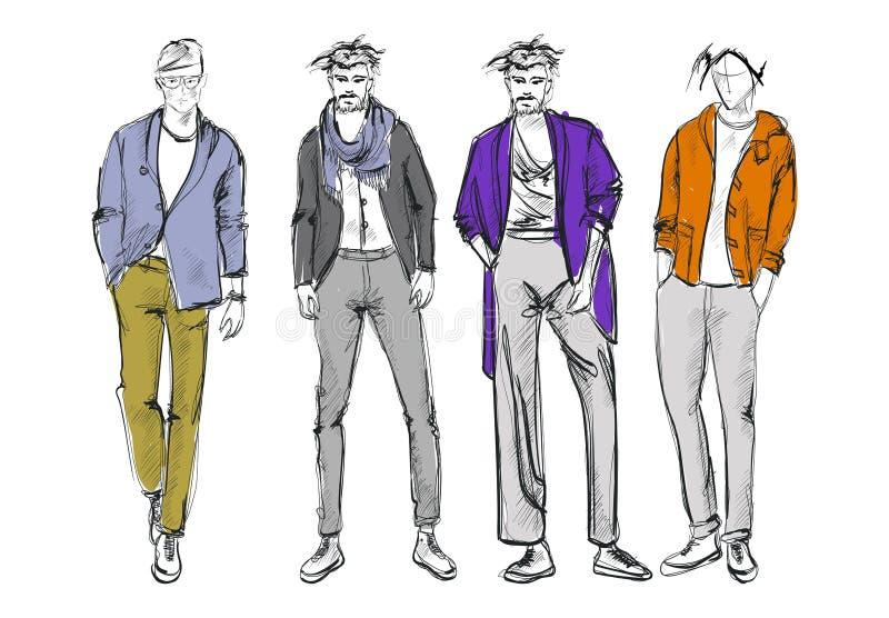Fashion man. Set of fashiona mens sketches stock illustration