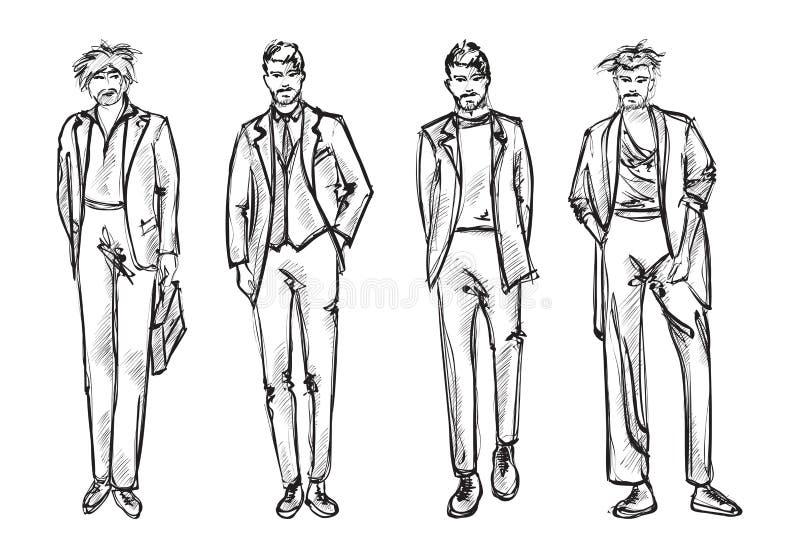 Fashion man. Set of fashionable men`s sketches stock illustration