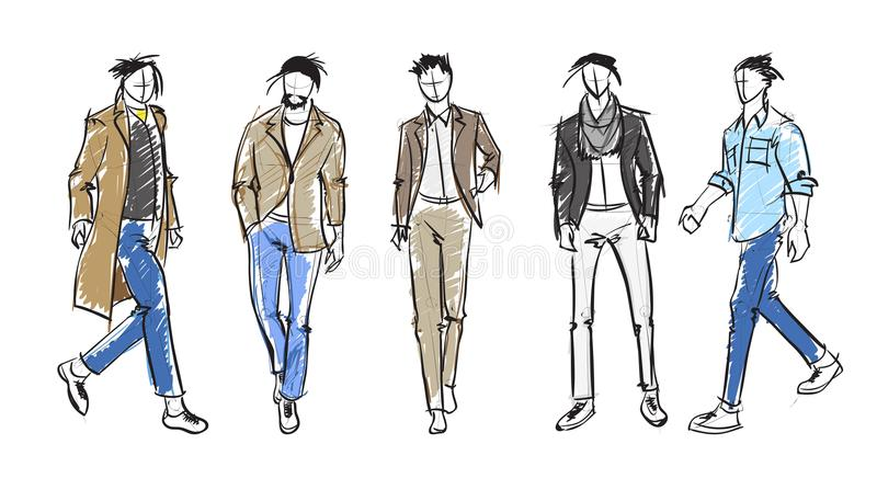 Fashion man. Set of fashionable men`s sketches vector illustration