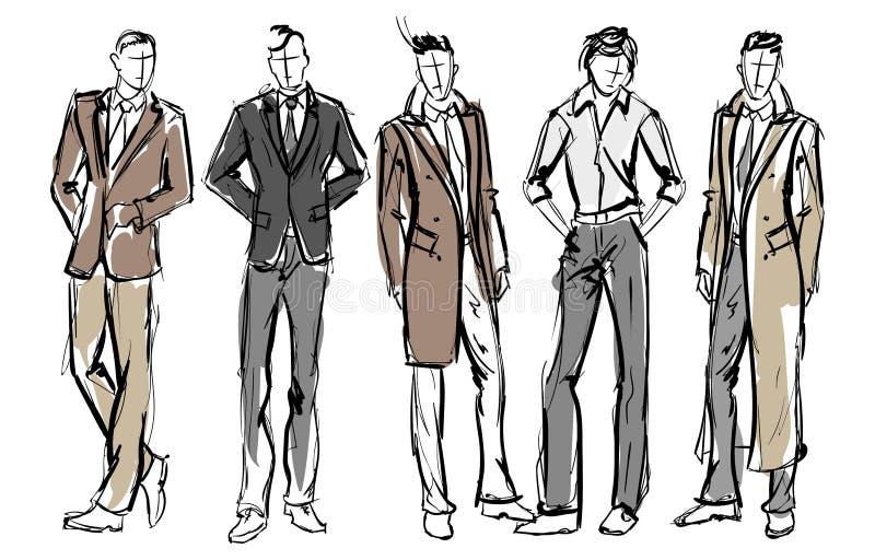 Fashion man. Set of fashionable men`s stock illustration