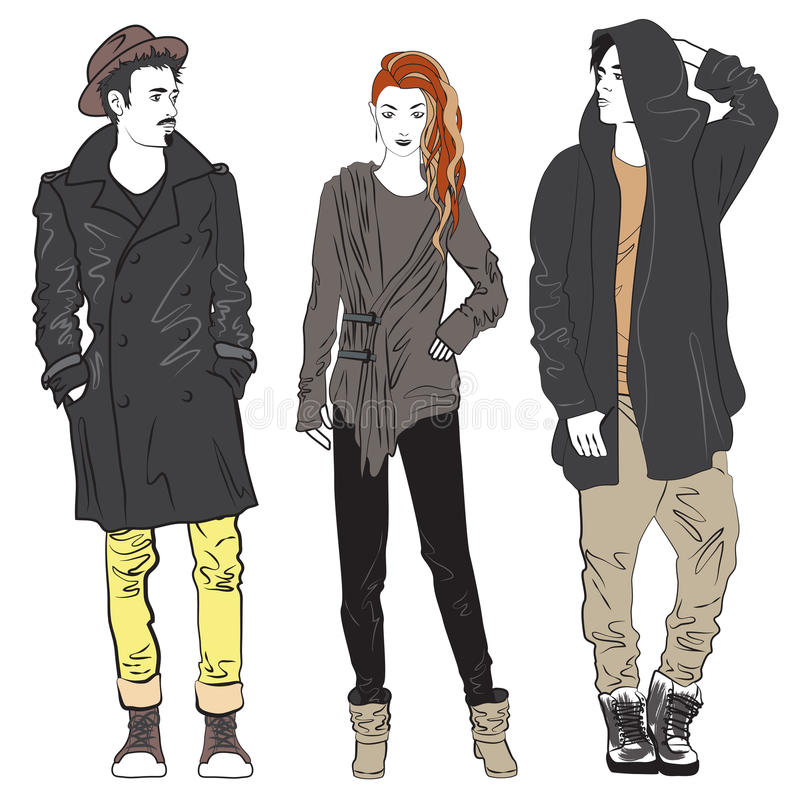 Fashion man and woman sketch illustration. Fashionable young street guy and girl. vector illustration