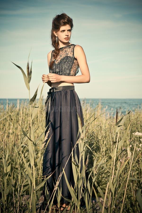 Fashion in a meadow stock photos