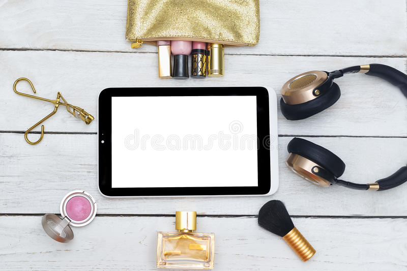 Fashion mockup with business lady accessories and electronic devices. Flat lay royalty free stock photos