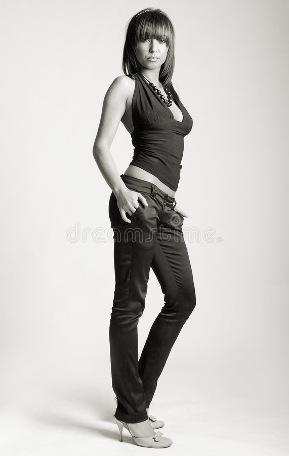 Fashion Model. Young Attractive Fashion Model shot in studio - b&w stock images