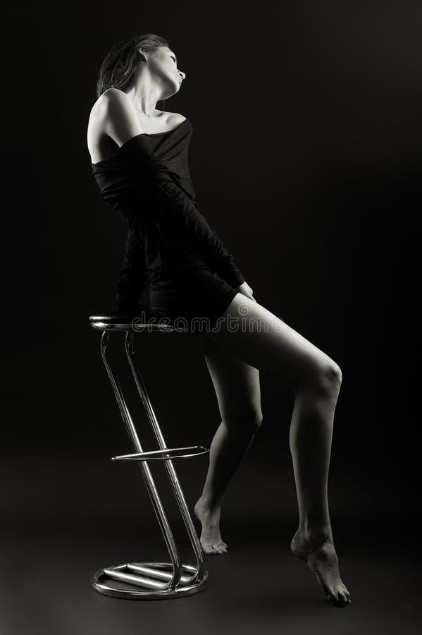 Fashion Model. Beautiful Fashion Model shot in studio - b&w stock image