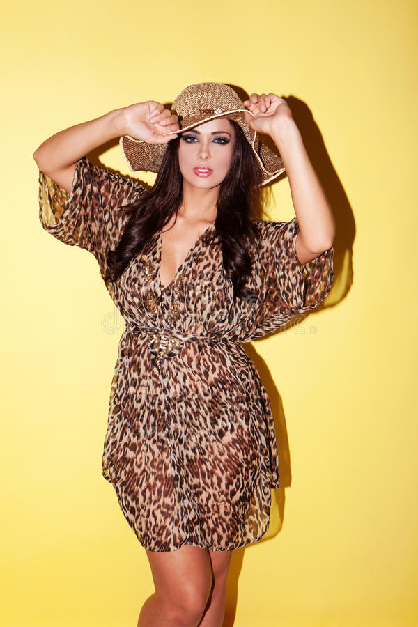 Fashion model in animal print outfit stock photo