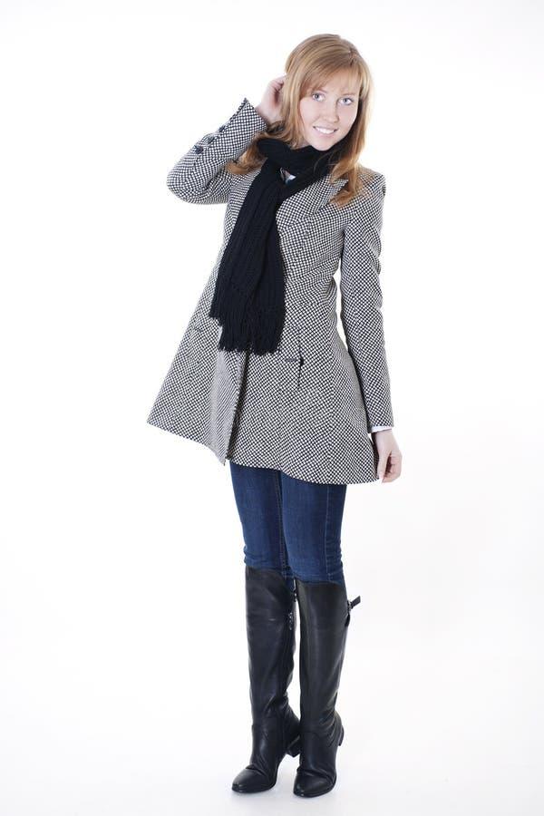 Fashion model in autumn clothes stock photos