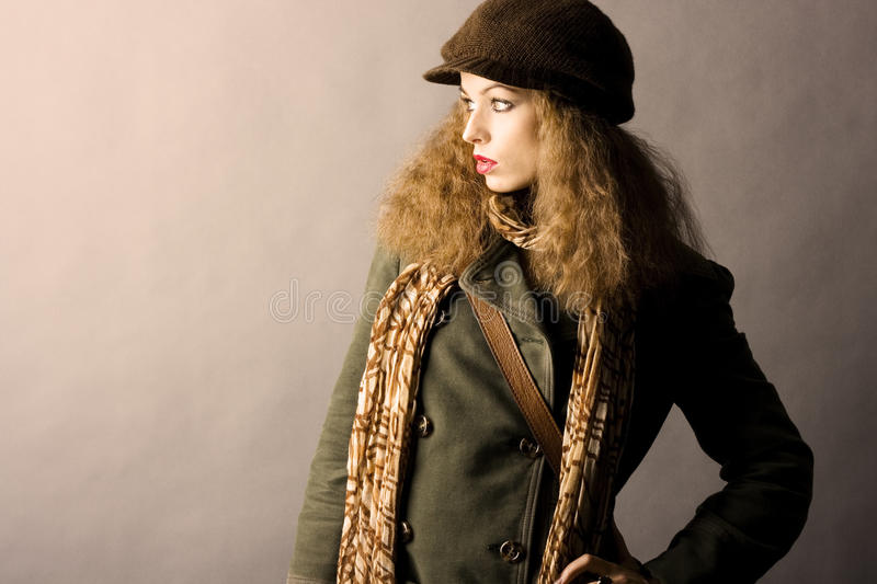 Fashion model in autumn/winter clothes. High contrast photo stock photo