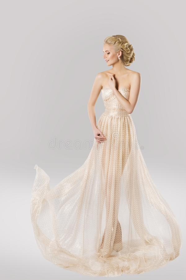 Fashion Model in Beautiful Dress, Beauty Hairstyle, Woman Gown stock image