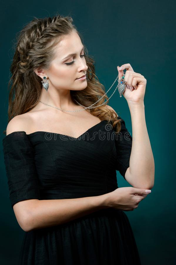 Fashion model beautiful woman demonstrated collection luxury accessory and jewelry royalty free stock images