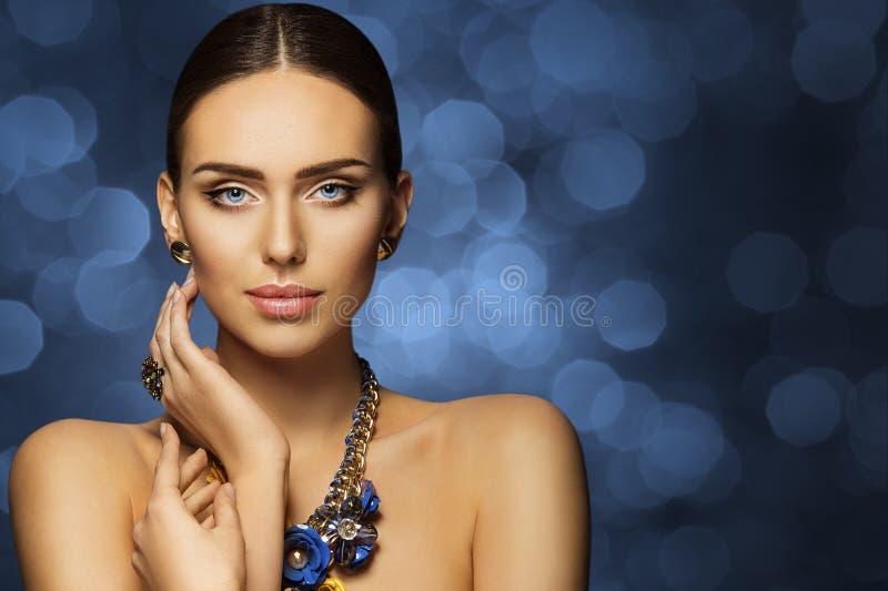 Fashion Model Beauty, Beautiful Woman Face Makeup, Elegant Young Girl Studio Portrait stock photo
