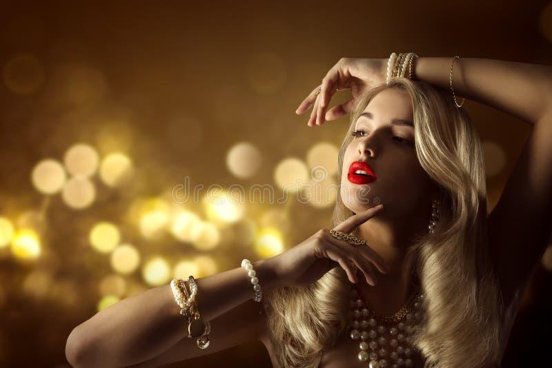 Fashion Model Beauty Jewelry Portrait, Elegant Woman Jewellery. Hairstyle Makeup, Beautiful Girl Long Hair stock photo