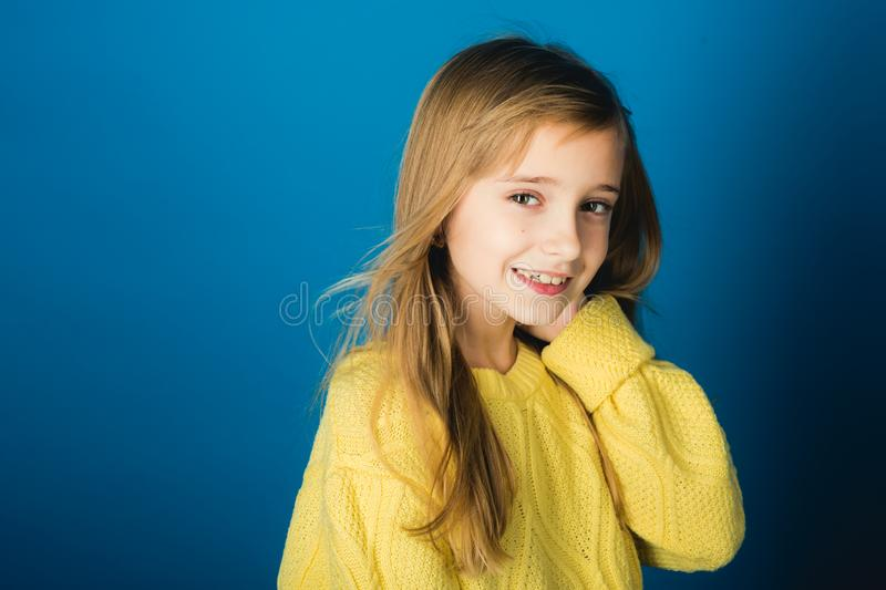 Fashion model and beauty look. Hairdresser, skincare, casual style, denim. Stylish girl with pretty face. Beauty or kid stock photo