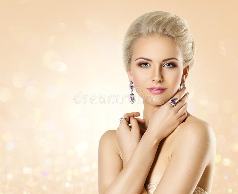 Fashion Model Beauty Portrait, Elegant Woman with Jewelry, Beautiful Makeup stock image