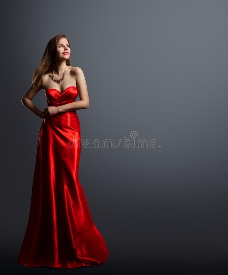 Fashion Model Beauty, Woman in Red Dress Full Length Portrait, Long Silk Evening Gown stock photos