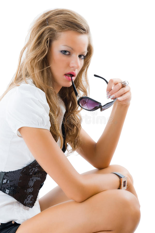 Download Fashion Model With Big Sun Glasses. Stock Photo - Image: 12084574