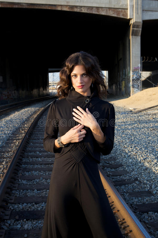 Download Fashion Model In A Black Dress Stock Image - Image of action, lovely: 10876903