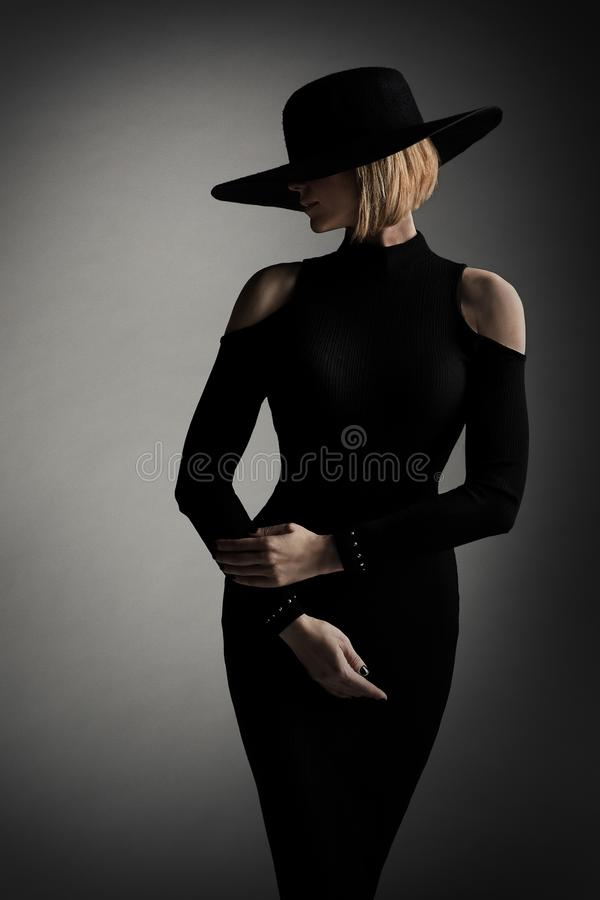 Fashion Model Black Dress Wide Brim Hat, Elegant Retro Woman stock photos