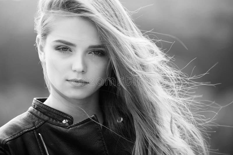 Fashion model on blurred background. stock photo