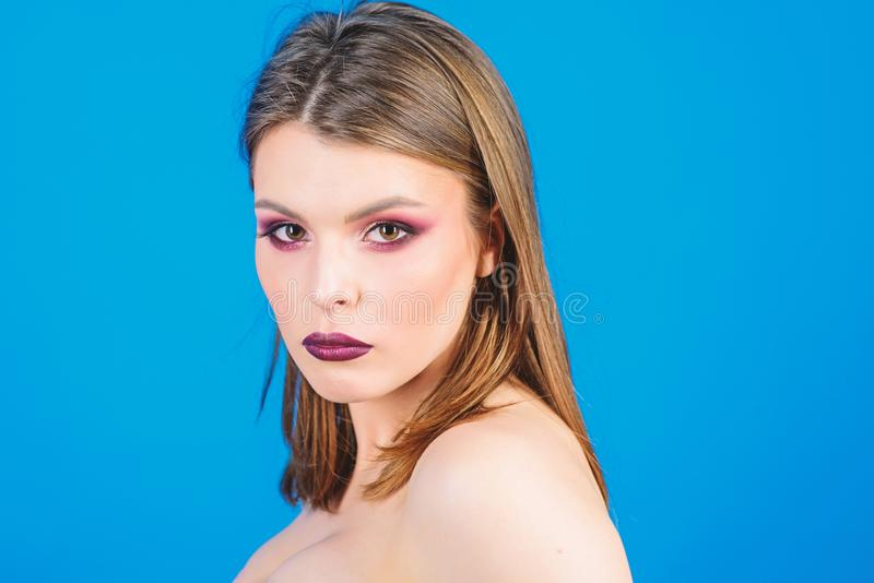 Fashion model bob hairstyle. Feminine and glamorous. Youth style. Attractive woman makeup face. Dark lips smoky eyes. Perfect makeup. Makeup cosmetics concept stock photography