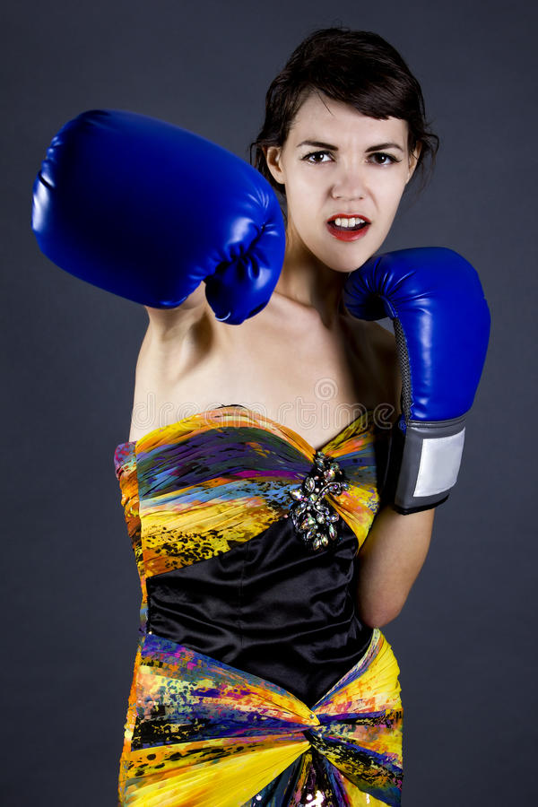Fashion Model with Boxing Gloves stock photo