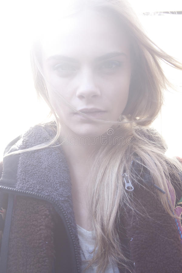 Fashion Model Cara Delevingne beauty portrait royalty free stock photos